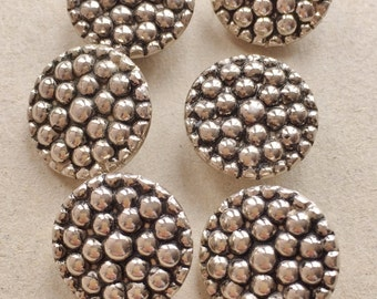nos silver tone and black metal shank buttons with 3D bubble design//sewing button art jewelry--matching lot of 6