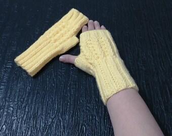 Men Women Knit fingerless glove mittens,  Knit wrist warmers, Wool knit fingerless glove, Knitted glove mitten