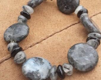 Labradorite bracelet with Tourmalinated Quartz