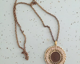 Vintage Coin Necklace with Rhinestones Gold Statement Necklace