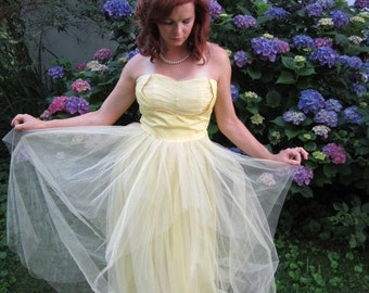 ON SALE 1950's Dress / Tulle Party Dress / Yellow Bridesmaid Dress / Marlie's Dress