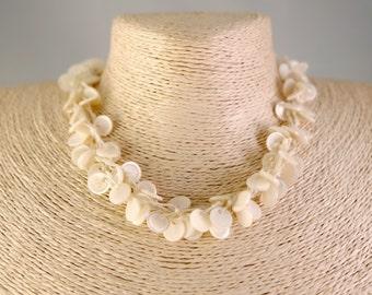 Mermaid Choker, Cream/Pearl Bead Necklace/Choker,