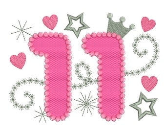 Happy Bithday Number 11 Pink Glamour for Girl Applique Embroidery Design HB059