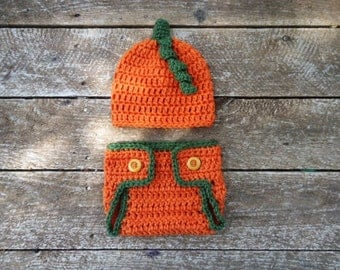 Pumpkin Hat Diaper Cover Set for Baby 0-3 or 3-6 Month Size Photo Prop