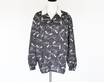 Clearance 1980's Black and white Long Sleeve Blouse- Sweet Bow Print novelty blouse-flouncy secretary top- ladies large