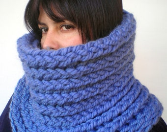 Clear Blue Jeans  Extrachunky Harmonic Cowl Super Soft  mixed  Wool Neckwarmer Woman/Men Big  Chunky Cowl NEW
