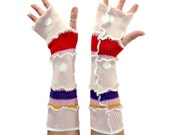 Pink Arm Warmers, Upcycled Clothing, Upcycled Arm Warmers, Fingerless Gloves, OOAK Arm Warmers, Handmade Arm Warmers, Pink Fingerless Gloves