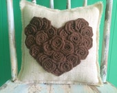 "13"" x 13"" Burlap Rosette Heart Pillow- Shabby Chic/Folk/Country/Rustic-Choose Your Color Combo-Cabin Decor-Cottage Decor-Beach Home Decor"