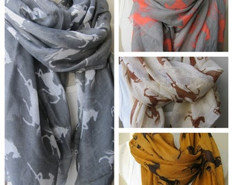 horse print scarf/horse scarf-horse lover gifts-long fabric animal scarves- woman fashion-man fashion-women's scarves-men's scarves