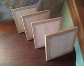 Set of 4, All Wood Easel Style Art Board, Paint Board, Project Board, 5 Inch Square, Collage, Oil Painting, Mosaic, Base, Flat Wood, Frame
