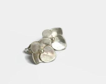 Hydrangea Flower Earring Studs, Small Flower Studs, Sterling Silver Flower Earrings, ARTISAN HANDMADE by Sheri Beryl