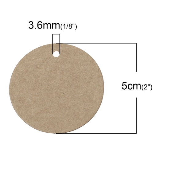 10pcs brown round paper label price tags 50mm for Price tags for craft shows