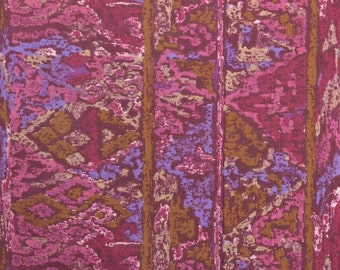 Vintage Dress Fabric by the Yard, Cotton and Rayon, Dark Pink Fabric, Raspberry Fabric Remnant, Ethnic Fabric - 1 1/4 Yard - DF1848