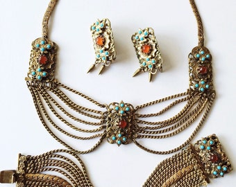 Karu Fifth Avenue Etruscan Revival Parure, Vintage Necklace Set, Etruscan Festoonla