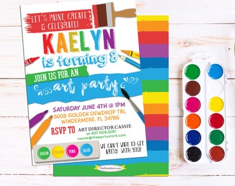 Art Party Invitation: Art Party Printable, Birthday Invitation, Art or Paint Party Invite, Rainbow Paint Party Printable Invitations Digital