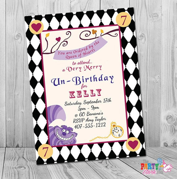 Alice in Wonderland Invitation Alice in Wonderland Birthday