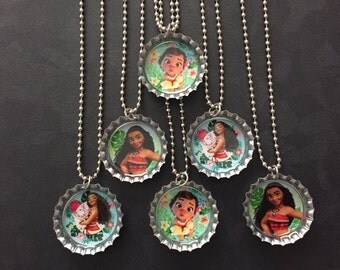 Moana Bottle Cap Party favors (6) / add more for 2 dollars each / Your choice of images