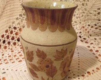 Vintage Brown Floral Design Pottery Vase by Barbie