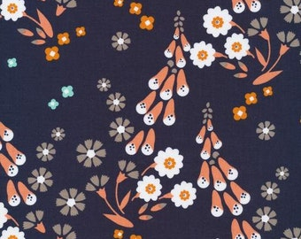 Cloud 9 Organic Cotton Fabric - Navy Foxgloves - Foxglove Collection - Quilters Weight - Floral Fabric - Navy Fabric