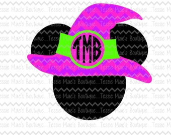 Mickey Mouse Witch Hat, Minnie Mouse, Mickey Mouse, Halloween, Witch Hat, SVG, DXF, EPS, Instant Download, Digital Design
