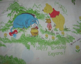 Vintage Winnie the Pooh Twin Flat Sheet/Material - Pooh, Kanga, Roo, Tigger, Piglet, etc. Retro Fabric - Happy Birthday Eeyore - Captions