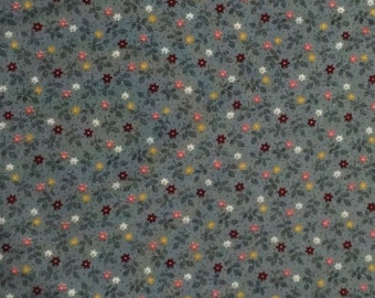 Cotton Fabric / Cranston Print Works / Gray Floral Cotton Fabric / Gray Calico Fabric / Gray Floral Fabric / Calico Fabric