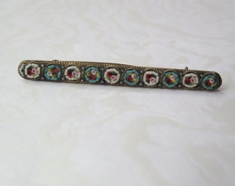Antique Italian Micro Mosaic Bar Pin Brooch Glass Tiles Vintage Venetian 1930s Made in Italy