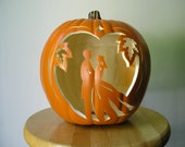 Fall Wedding Bride and Groom Carved Decorative Pumpkin