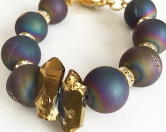 Agate & Quartz Bracelet, Rainbow Gemstone, Gemstone Jewelry