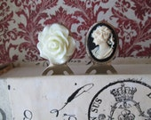 Book Mark Gift Set, Creamy Rose Flower, Vintage Black and Cream Cameo, Silver Paperclip Bookmark, Gift Idea, Womens Accessory