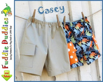 Casey Boy's Shorts Pattern. Toddler Sewing Pattern pdf. INSTANT DOWNLOAD. Boys Sewing Pattern. Toddler Cargo Shorts Pattern.  12mo-size 10.