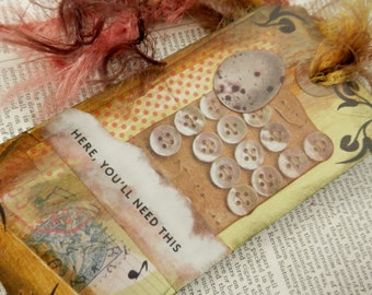 "SALE - JOURNAL/INSPIRATION Tag - Collage with Book Text Snippet - ""Here, You'll Need This"" One-Of-A-Kind"