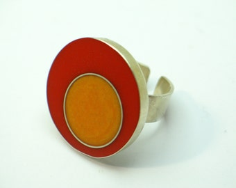 Silver resin ring, sterling silver Jewelry. Orange and red. Modern Jewelry. Contemporary. OOAK