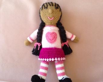 "Nana's Sweet ""Heart"" crocheted doll...warm brown skin, black hair,  brown eyes.....    #013"