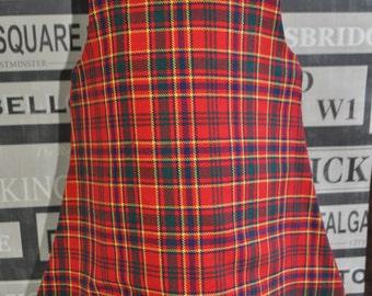 Pinafore Dress, 18-24m, Munro Modern tartan, Made from Vintage fabrics, white crochet lace trim. Baby Girls Dress. Scottish dress