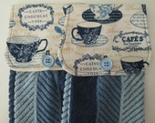 Hanging Kitchen Towel Set - Coffee Tea  Hot Chocolate Cups Medium Blue Stripe Terry Cloth Towels Button Closure