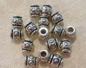 Silver Metal Barrel Beads ~ 7mm x 7mm ~ 25 in pack