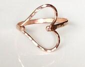 Hammered Sideways Heart Rose Gold Filled Ring - Heart Ring - Rose Gold Ring - Hammered Rose Gold Filled Ring