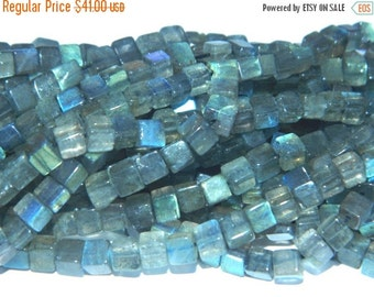 20%off. AAA.Natural Labradorite Smooth Polished 3D Cube Box --14 inches long Strand-Size - 4.5mm to 6.5 mm approx- Enjoy Free Shipping