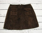 Vintage Suede Leather Skirt Women Chocolate Hippie Boho Natural Leather Suede