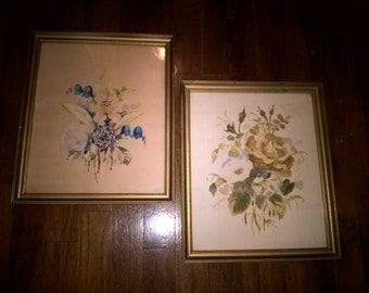 Wood Wintage Frames with Signed Water Color Prints