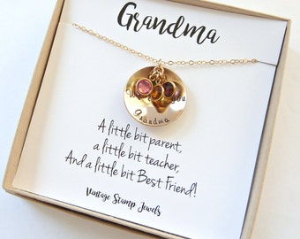 Grandma Necklace,Custom Name Necklace,Personalized Gold Grandma Necklace,Nana Gift,Meemaw Gift,Mom Gift Gold Disc Necklace