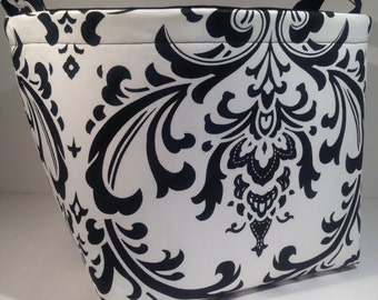 Extra Large 10 x 10 x 10 Fabric Basket Organizer Bin Storage Container- Black on White Damask Print with Solid Black Interior