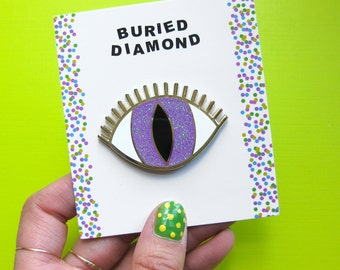 MAGIC EYE BROOCH - purple