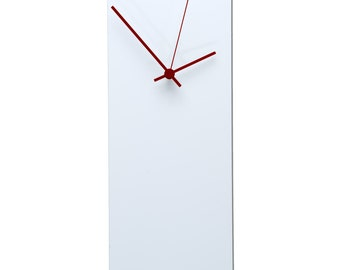Modern Wall Clock 'Whiteout Red Clock' - Midcentury Wall Clock - White Metal Unique Wall Clocks w/ Red Hands