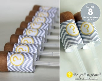 Grey Chevron Confetti Push-Pops for Gender Reveal Parties - Set of 8