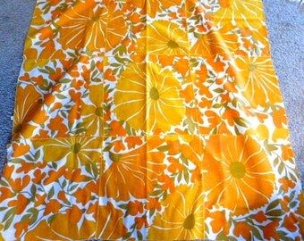 Vintage Vera Neumann Tablecloth--48 by 48 Inches Golden Flowers