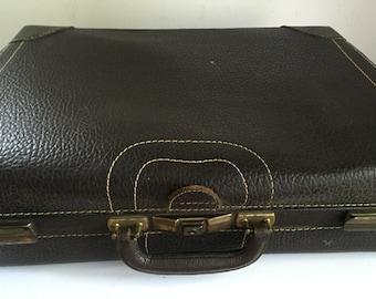 Vintage Pebbled Brown Cowhide Suitcase Luggage