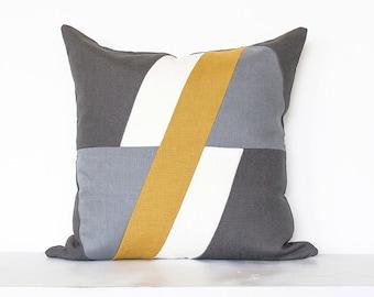 "Geometric ""Element""  Colorblock Pillow Cover- Mustard / Grey Combo"