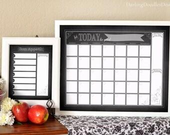 Chalkboard Calendar - Chalkboard Menu Planner - 2018 Calendar - Menu Planner - Monthly Calendar - Weekly Menu Planner - Family Organization